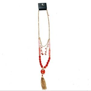 🌸🌵🌼Long Ombré Pink Bead Gold Tassel Necklace